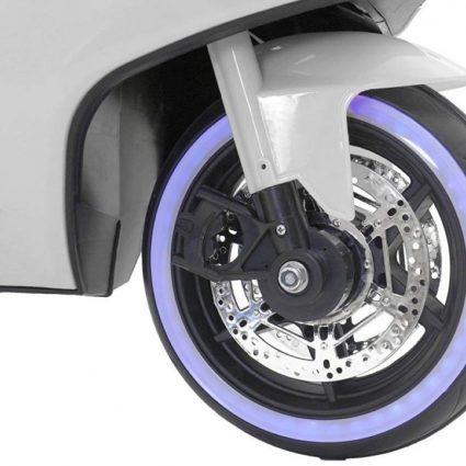 Детский электромотоцикл Ducati 12V- FT-1628 белый (колеса светящиеся, сиденье кожа, музыка, страховочные колеса, ручка газа)